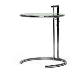 Baxton Studio - Baxton Studio Eileen Gray End Table - Raise or lower the table top according to your needs with this contemporary glass top end table. Perfect for utility or decoration, it has a unique look with a stainless steel frame and glass accents.