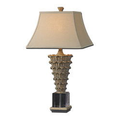 Uttermost - Antelao Gold Table Lamp - Its height makes this antique gold table lamp a smart and stylish option for the buffet or night stand. Although with that crystal cube bottom, cone-shaped, curly leaf base and square bell shade, you might say this lamp is fashionably shaped and ready for anything.