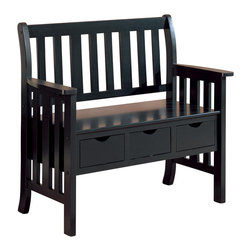 Adarn Inc - Traditional Three Drawer Storage Bench, Black - Keep your entry way uncluttered with the useful storage offered by this three drawer bench. Three drawers suspended beneath the bench seat keep shoes, accessories, mittens and hats close at hand yet neatly out of sight. Built in handholds are the only embellishments on the drawer fronts and provide effortless open and closure that even kids can take advantage of. The bold vertical slats of the seat back are continued on the side panels, which begin with the gentle curves of a wood armrest and conclude with simple post legs. Your choice of sleek black or brown cherry with burnt edge finishes lets you customize the look of this three drawer storage bench to suit your space.