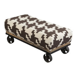 "Surya - Chocolate and Ivory Houndstooth Foot Stool by Surya - A strong contrast of ivory and chocolate gets a trendy update in a hounds tooth pattern of 100% wool. The well upholstered wood base ottoman owns an urban chic quality with castors in place of legs. (SY) 36.8"" wide x 14.8"" high x 16.8"" deep"