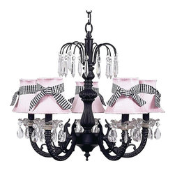 Black Waterfall Chandelier with Pink Shades tied with Black Check Sashes. - This fun black waterfall chandelier features pink shades tied with black check sashes.