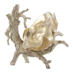 John Richard - John Richard Silver Driftwood Stand with Clam JRA-8631 - An impressive silver driftwood stand holding a giant clam nestled in the arms of the driftwood stand. The shell can be removed from the stand for multiple uses.