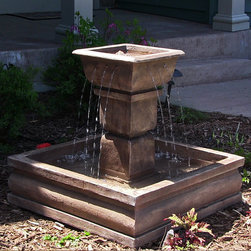 Outdoor Classics Square Courtyard Fountain -