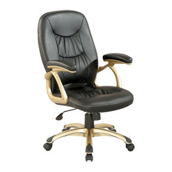 Chintaly Imports - Champagne/Black Ultra Comfortable High Back Office Chair - Black Stitched Back and Seat for Extra Comfort and Support Office Chair. With Multiple Seat Adjustments. Seat, back and armrest are upholstered in black PU & PVC. 5 star caster base allow the chair to move with ease. Base finished in champagne.