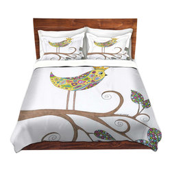 DiaNoche Designs - Duvet Cover Microfiber by Valerie Lorimer - Bird Talk - Super lightweight and extremely soft Premium Microfiber Duvet Cover in sizes Twin, Queen, King.  This duvet is designed to wash upon arrival for maximum softness.   Each duvet starts by looming the fabric and cutting to the size ordered.  The Image is printed and your Duvet Cover is meticulously sewn together with ties in each corner and a hidden zip closure.  All in the USA!!  Poly top with a Cotton Poly underside.  Dye Sublimation printing permanently adheres the ink to the material for long life and durability. Printed top, cream colored bottom, Machine Washable, Product may vary slightly from image.