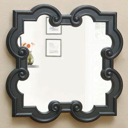 Coaster - 900698 Mirror - Accent mirror finished in black features a unique quatrefoil shape.