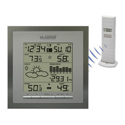 """La Crosse Technology - Forecast Station w Barometric Pressure History - Weather forecasting functions with 3 weather icons and weather tendency indicator. Wireless in and out temperature (°F/°C) & humidity (%RH). Records minimum and maximum temperature and humidity with time and date of recording. Barometric pressure with 24 hour history graph (in inHg or hPa). Indoor comfort level icon. 12 Moon phases. Atomic time and date with manual setting. Automatically updates for daylight saving time (on/off option). 12/24-Hour time display. Perpetual calendar. Time zone setting and US time zone map. Time alarm with snooze. Low battery indicator on receiver. Wall-hanging or free-standing. Specifications:. Humidity range: 1% to 99%. Out temperature range: -39.8°F to 139.8°F (-39.8°C to 59.9°C). In temperature range: -39.8°F to 139.8°F (-39.8°C to 59.9°C). Power requirements:. Receiver: 2 """"C"""" alkaline batteries (not included). Sensor: 2 """"AA"""" alkaline batteries (not included). Receiver: 7.25 in. L x 1 in. W x 7.25 in. H. Sensor: 1.69 in. L x .91 in. W x .6.3 in. H. Package: 10 in. L x 2.5 in. W x 10 in. H"""