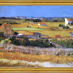 """Vincent Van Gogh-16""""x20"""" Framed Canvas - 16"""" x 20"""" Vincent Van Gogh A Harvest Landscape with Blue Cart framed premium canvas print reproduced to meet museum quality standards. Our museum quality canvas prints are produced using high-precision print technology for a more accurate reproduction printed on high quality canvas with fade-resistant, archival inks. Our progressive business model allows us to offer works of art to you at the best wholesale pricing, significantly less than art gallery prices, affordable to all. This artwork is hand stretched onto wooden stretcher bars, then mounted into our 3"""" wide gold finish frame with black panel by one of our expert framers. Our framed canvas print comes with hardware, ready to hang on your wall.  We present a comprehensive collection of exceptional canvas art reproductions by Vincent Van Gogh."""