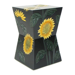 Wayborn - Sunflower Stand in Black Finish - Made from Cedar plywood. Carved with a smooth finish. For indoor and outdoor use. 13 in. L x 13 in. W x 20 in. H (17 lbs.)
