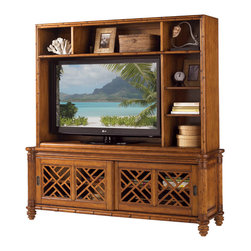 Lexington - Lexington Island Estate Nevis Media Hutch 531-919 - Complementing the Nevis Media Console, the three shelf hutch provides room overhead for media components or interesting display opportunties with two of the shelves being adjustable. A bamboo inspired border frames the hutch.