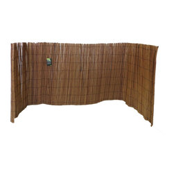 Master Garden Products - Peeled Willow Fence Screen, Light Mahogany Color, 4'h X 8'l - Willow sticks are harvested every one or two years for fencing material making the classic peeled willow fences one of the most environmentally friendly and ecologically sustainable materials as it is zero carbon releasing compared to metal and plastic fencing. Our classic peeled willow fences are constructed with only mature willow sticks that are thick enough to have their skin peeled and to go through the process known as high pressure steam carbonization, resulting in a polished mahogany tone that resembles an aged smooth log house type texture. They are then woven together with black nylon coated wire which allows these carbonized willow sticks to last longer in outdoor conditions. These classic willow fences come rolled with a matching black nylon coated wire. It is easy to install using the wire tie, especially around a corner or any kind of non-linear fencing.