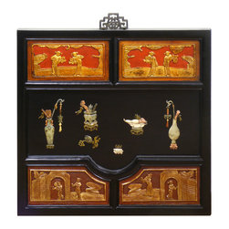 China Furniture and Arts - Soap Stone Qing Wall Plaque - The art work on the plaque is carved of precious Shou Shan stone with ornate Chinese red antique panels. A gilt accent retrieved from old windows and doors in present for a striking contrast. Framed with Elmwood with an ornate metal hanger on the back for your convenience. Each one is unique and may vary slightly from the one pictured.