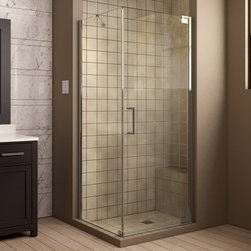 "DreamLine - DreamLine SHEN-4130300-01 Elegance Shower Enclosure - DreamLine Elegance 30"" by 30"" Frameless Pivot Shower Enclosure, Clear 3/8"" Glass Shower, Chrome Finish"