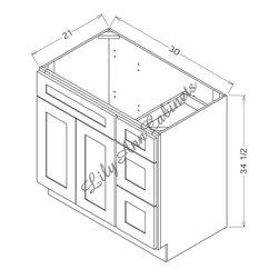 "RTA Mocha Bath Vanities V3021DR Single Door / Double Drawer Right - Mocha Bathroom Vanities V3021DR - Single Door / Double Drawer Right Vanity Base: 30""Wx21""Dx34-1/2""H 1 door, 2 drawers right"