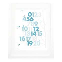 Trees with Numbers Wall Art, Blue and Gray