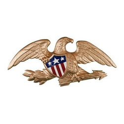 Deluxe Gold Bronze Wall Eagle - 23 in. - A classic red, white, and blue shield against the metallic finish on the Gold Bronze Wall Eagle - 23 in. makes it a perfect decoration in your home. This highly detailed eagle is well-made in the USA of strong aluminum and is beautifully finished in gold bronze.