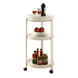 Monarch Specialties - Monarch Specialties Casual Tea Cart with Serving Tray in White - Add an unparalleled appeal to you bar area with this modern styled bar cart. It features clean edges, straight legs, and a rich solid-wood white finish that add a bold element to your area. Its black casters make it easy to move the cart from room to room or serve your guests! Three spacious shelves offer plenty of space, ideal for making drinks and storing your bar accessories, making this piece appropriate for both casual and formal dining occasions. What's included: Tea Cart (1).