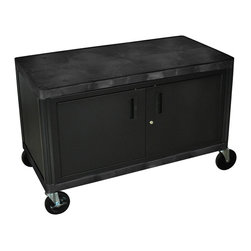 "Luxor - Luxor Industrial Cart - HEW385C-B - All new. Luxor Industrial cart. Molded plastic shelves and legs wont stain, scratch, dent or rust. 400 lb. weight capacity (evenly distributed). Steel locking cabinet with full piano hinge, great for storing transportation of supplies. New heavy-duty 5"" ball-bearing casters, two with locking brake. Black. Lifetime warranty. 48""W x 24""D x 31""H."