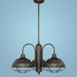 Millennium Lighting - Neo-Industrial Rubbed Bronze Three-Light Chandelier - Millennium Lighting?s retro styled Neo Industrial fixtures feature popular industrial and vintage styling at value-oriented price points. All Neo-Industrial hanging fixtures are packaged with adjustable hanging rods and a ball swivel canopy feature that will swivel up to 60 degrees to accommodate sloped ceilings. Neo-Industrial fixtures are finished in popular Bronze, Satin Nickel, Chrome and painted Copper and are UL Damp listed for covered indoor/outdoor usage. Styles incorporate warehouse/barn shade looks and schoolhouse shades.  -All neo Industrial style hanging fixtures are stem hung and supplied with the following three sections: 18, 12, and 6  -Stem hung fixtures may be semi-flush mounted by removing all stems.  -Removable wire guard included.  -  Includes 1x 6 inch, 1x 12 inch and 1x 18 inche rod Millennium Lighting - 5303-RBZ