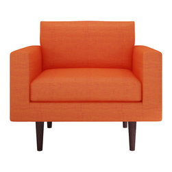 Bobby Berk Home - Brady Chair, Dublin Orange - With its mid century feel the Brady Collection is sophisticated yet restrained and would sit equally comfort- ably in rooms ranging from a living room to a dressing room to a foyer.