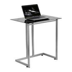 Flash Furniture - Flash Furniture Tempered Glass Computer Desk in Black - Flash Furniture - Computer Desks - NAN2905GG - The simple designed Glass Desk attracts the buyer who needs something simple yet modern and elegant. The compact sized desk is perfect for small spaces when the desk is to be used for writing reading homework and laptop usage.