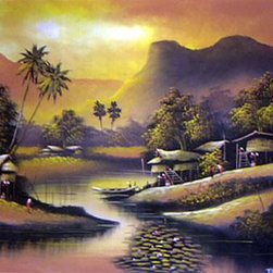 Oriental-Décor - Quiet Glory - Southeast Asia is home to many quaint villages often nestled in a valley or near a small river. This magnificent painting depicts one of those quaint villages. Hang this painting in any room for fine decoration and a relaxing effect.