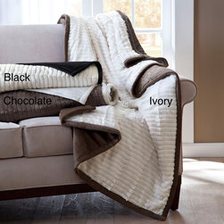 Madison Park - Madison Park Carmen Herringbone Long Fur Reverse to Mink Down Alternative Throw - The Athens Herringbone Long Fur Down Alternative Throw is both fashionable and functional. To create a border on the face of this throw, the black mink from the reverse is used around the edges adding dimension and a contrast in color.