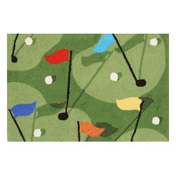 """Trans-Ocean - Golf Green Rugs 1478/16 - 24""""X36"""" - Richly blended colors add vitality and sophistication to playful novelty designs.Lightweight loosely tufted Indoor Outdoor rugs made of synthetic materials in China and UV stabilized to resist fading.These whimsical rugs are sure to liven up any indoor or outdoor space, and their easy care and durability make them ideal for kitchens, bathrooms, and porches."""