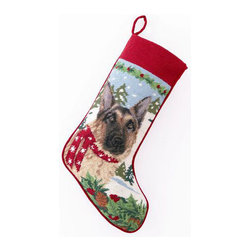 "Peking Handicraft - German Shepard Needlepoint Stocking - With its charming vintage design and intricate needle point quality, our adorable pet stockings are ready to fill with toys and treats for your best friends! This well made stocking features a plush velveteen color coordinated back and is meant to last for years! Indeed Decor will donate 20% of profits to animal rescue charities. Dry Clean Only. 11"" x 18""."