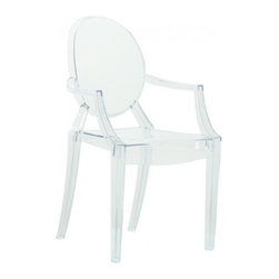 Clear Acrylic Ghost Arm Chair - Introduced in 2002, the Louis ghost chair by Starck & Kartell is a continuation of the use of durable polycarbonate by the firm. Starck redoes an older design in new materials (like he has throughout his career). Shock, scratch and weather resistant, the Louis Ghost Chair is right at home both indoors and outdoors.