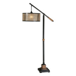 Uttermost - Uttermost Sitka Lantern Floor Lamp - Aged black metal accented with solid wood details finished in a heavily distressed rustic mahogany and a light rottenstone glaze. The round drum shade is made of natural Mica with aged black trim.