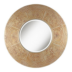 "Lamps Plus - Asian Timur 31 3/4"" Round Gold Wall Mirror - This handsome round wall mirror features a stunning wide frame with a raised scroll and floral design pattern. Light gold finish is rubbed with red glaze to create its distinctive color palette. A 1/2"" bevel to the glass lends an additional sophisticated accent. Round wall mirror. Raised scroll design frame. Light gold finish with rubbed red glaze. 1/2"" bevel. 31 3/4"" round. 3/4"" deep. Glass only is 16  1/4"" round.  Round wall mirror.   Raised scroll design frame.   Light gold finish with rubbed red glaze.   1/2"" bevel.   31 3/4"" round.    3/4"" deep.   Glass only is 16  1/4"" round."