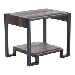 Reclamation Company - Delway Side Table, Oak, Clear Lacquer, Metal Base, Black Rub Through - Delway collection features wood top and lower shelf with book matched waterfall ends between two metal frames.  Because this is a unique handmade piece, please allow a 4 to 6 week lead time. Note: Please use the swatch image for an indication of the wood and finish options.