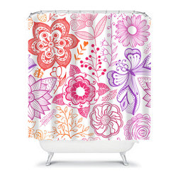 Shower Curtain Flower Coral Purple 71x74 Bathroom Decor Made in the USA - DETAILS: