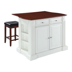 Crosley Furniture - Breakfast Bar Top Kitchen Island with Square - Includes two stools. Drop leaf for additional space or dining. Sculpted edges on each end of top. Open storage with adjustable shelves on each end. Brushed nickel hardware. Gorgeous diamond accents and fluted pilasters. Two adjustable shelves behind doors. Stool with cherry upholstered seat. Warranty: 90 days. Made from solid hardwood and wood veneers. White finish. Made in Vietnam. Stool height: 24 in.. Min: 48 in. W x 23 in. D x 36 in. H (208 lbs.). Max: 48 in. W x 35 in. D x 36 in. H (208 lbs.). Assembly instructions - Drop leaf Kitchen Island. Assembly instructions - StoolThis kitchen island is designed for longevity. The handsome raised panel doors and drawer fronts provide the ultimate in style to dress up any culinary space. Raise the drop leaf to expand your serving space, or just sit at the breakfast bar and eat your meal. Open storage on both ends provides easy access to frequently used items, and is perfect for displaying decorative objects. Style, function, and quality make this kitchen island a wise addition to your home.
