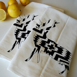 Kitchen - Set of printed deer cotton towels are perfect to spruce up your kitchen or bar. Hand screen printed in black ink on generously sized white cotton flour sack towels. Image created from an original illustration.