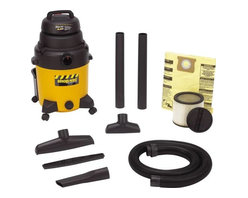 """SHOP-VAC CORPORATION - Industrial Wet/Dry Vacuum 10-Gallon - Unit is 4.0 HP, has tough poly tank, and 18' power cord. Airflow is 173 CFM, 120V -60 Hz, and 7.9 amp. Includes 6' x 2-1/2"""" heavy duty lock-on hose, 2 -2-1/2"""" extension wands, 8"""" utility nozzle, 14"""" floor nozzle with squeegee insert and crevice tool, cartridge and drywall filter bag"""