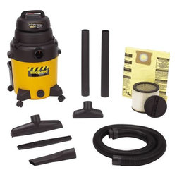 "SHOP-VAC CORPORATION - Industrial Wet/Dry Vacuum 10-Gallon - Unit is 4.0 HP, has tough poly tank, and 18' power cord. Airflow is 173 CFM, 120V -60 Hz, and 7.9 amp. Includes 6' x 2-1/2"" heavy duty lock-on hose, 2 -2-1/2"" extension wands, 8"" utility nozzle, 14"" floor nozzle with squeegee insert and crevice tool, cartridge and drywall filter bag"