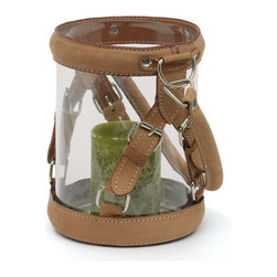 Go Home - Small Leather Strapping Hurricane - Amazing styled Hurricane with leather Strap will be a focal point on any mantel or table. Fitted with leather straps and handle, each glass vessel serves as a display for flowers, a basket, or add a pillar candle and employ as a hurricane.