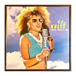 """Glittered Kelis 12"""" Album - Glittered record album. Album is framed in a black 12x12"""" square frame with front and back cover and clips holding the record in place on the back. Album covers are original vintage covers."""