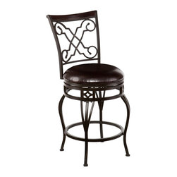 """Southern Enterprises Inc - Southern Enterprises Inc Winston Swivel Counter Stool X-5511CB - Accent your home with gorgeous, convenient seating. Scrollwork and sophisticated details unite in this elegant counter stool.   A powder-coated, velvet bronze finish and durable steel frame deliver lasting quality. It features counter height seating, a cozy foam seat covered in rich dark brown vinyl, and a scrolled X cast backrest with a rich walnut finish wood accent. A full 360 degree swivel and footrest ring provide comfort and ease.   The detailed, curvy form and attractive finish coordinate with traditional to contemporary d&#233:cor styles. Ideal for the kitchen, breakfast nook, island, or dining area.  Please note: Our photos are as accurate as possible, but color discrepancies may occur between the product and your monitor. The handcrafted touch of artisan skill also creates variations in color, size, and design: slight differences should be expected.   - FEATURES:                                                                                             - Sturdy steel frame with luxurious vinyl seat and fire-retardant foam cushion                          - Easy to assemble                                                                                      - Velvet bronze finish frame with dark brown seat                                                       - Smooth 360 degree swivel                                                                              - Convenient footrest ring for ultimate comfort                                                         - Curved backrest for optimum support                                                                   - PRODUCT SPECIFICATIONS:                                                                               - Seat: 16.75"""" DIA x 25.25"""" H: cushion: 3"""" THK                                                          - Backrest: 17.25"""" W x 17.75"""" H: footrest: 6.5"""" H                                                 """
