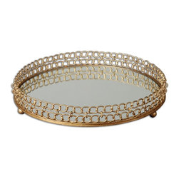 Uttermost - Uttermost Dipali Mirrored Tray 19807 - Made of gold leaf metal with a mirror base.