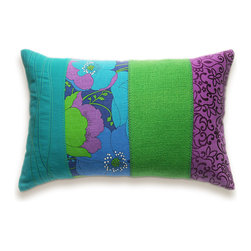 Patchwork Stripes Decorative Lumbar Pillow Cover 12x18 DHARMA DESIGN - Wonderful funky patchwork pillow cover made with lovely mixture of vintage and modern 100% cotton fabrics in bright colours, completely unique and one of a kind. Back made of solid dark purple eggplant cotton. Some decorative seams and embroidery added for enhancing the attractiveness of the whole design.