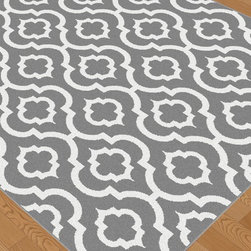 Metro Collection 1029 - Featuring an architectural Moroccan tile pattern with old world charm.  Saturated with exciting color, this contemporary home decor accent frieze rug evokes a feeling of timeless style and foreign travel, but with current flair.  Sterling gray. Well-crafted with a 0.39-inch pile height, this high-quality rug also offers comfort and durability. Plush feel, high density polypropylene fibers made with quality construction to ensure long wear. Spot clean.