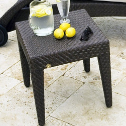 Hospitality Rattan - Soho Patio End Table in Rehau Fiber Java Brow - Enjoy the simple style of this outdoor side table combined with matching items or used as an accent or extra storage. Features a woven wicker design that is made to withstand all weather conditions. A java brown finish and tapered legs provided maximum style for any home or commercial setting. Color shown is not accurate . See additional image as an example of the EXACT product color. This product is warranted for outdoor use. Outdoor wicker end table. Rehau Fiber java brown finish. Weather and UV resistant. Matching dining group and chaise lounges available. Constructed of aluminum and resin wicker. Sturdy aluminum legs for extra support. Fully assembled. 19 in. W x 19 in. D x 20 in. H (12 lbs.)The Soho Collection is a sleek contemporary collection that offers a unique see-through modular sectional that allows endless possibilities ranging from a sofa, loveseat, armless chair setup, to a standard sectional. The Soho Collection offers a fully anodized aluminum frame, which is then woven with Rehau Java Brown fiber. Its unique look and multi-colored textured surface make it one of the most attractive collections for outdoor use. The Soho Collection only requires cushions for the seating pieces. The balance of the collection can be used without cushions. In addition, glass is optional as the table tops are fully woven and offer reinforced plexiglass undersides for enhanced sturdiness. The large round dining table accommodates an umbrella. The Soho armchair and chaise lounges are all stackable items. The cushions used on the Soho collection are available with synthetic outdoor fabrics including Sunbrella. Most importantly the quality of the Soho collection makes it ideal for contract settings.