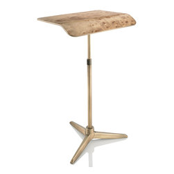 Plunk Desk - Plunk Desk-Carpathian Elm Burl/Brass - Plunk Desk is a portable, adjustable standing desk handcrafted from wood and aluminum. Plunk fits into a custom bag and no tools are needed for assembly.