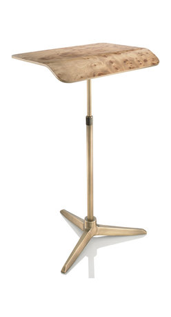 Plunk Desk - Plunk Desk-Carpathian Elm Burl/Brass, Burl/Brass - Plunk Desk is a portable, adjustable standing desk handcrafted from wood and aluminum. Plunk fits into a custom bag and no tools are needed for assembly.