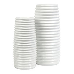 IMAX Worldwide Home - 2-Pc Ribbed Vase - Includes small and large vases. Made from 60% resin and 40% fiberglass. Small: 6.5 in. Dia. x 17.5 in. H. Large: 8 in. Dia. x 21.75 in. H. Weight: 15.62 lbs.The dramatic scale and clean, modern white lines of the vases add a fresh inspiration to any color display.