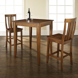 Crosley Furniture - 3 Pc Pub Dining Set w Cabriole Leg and Shield - Includes Pub Table and 2 Shield Back Stools in Classic Cherry. Solid Hardwood & Veneer Construction Table . Solid Hardwood Stools. Hand Rubbed, Multi-Step Finish. Solid Hardwood, Carved Cabriole Style Legs. Shaped Back for Comfort. Table Dimensions: 36 in. H x 32 in. W x 32 in. D. Stool Dimensions: 40 in. H x 18.5 in. W x 22.5 in. DConstucted of solid hardwood and wood veneers, the 3 piece Pub / High Dining set is built to last. Whether you are looking for dining for two, or just a great addition to the basement or bar area, this set is sure to add a touch of style to any area of your home.