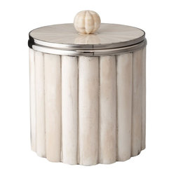 Lazy Susan - Lazy Susan 344015 Bone Rod Pattern Ice Bucket - Channeling its intended purpose, this ice bucket's design is nothing short of calm, cool and collected. Handcrafted from bone and horn, this striking cylinder boasts a rod-pattern exterior with a coordinating knob on the bucket's lid. You're sure to treasure this piece of barware, which is equally suitable as a stand-alone decorative piece. Available in cream or black.